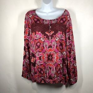 Lucky Brand red paisley blouse size xl